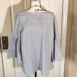 NWOT CHAPS Grey/White Striped Blouse